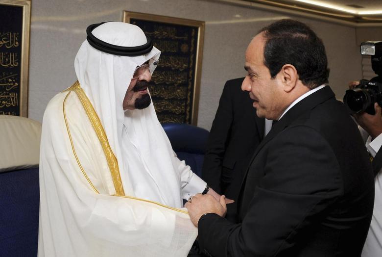 Saudi Arabia's King Abdullah (L) meets Egypt's new president Abdel Fattah al-Sisi during his visit to Cairo June 20, 2014. REUTERS/The Egyptian Presidency/Handout via Reuters