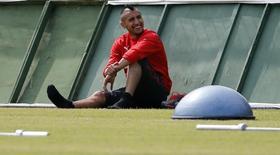 Arturo Vidal, da seleção do Chile, durante treino em Belo Horizonte. 19/06/2014. REUTERS/Sergio Perez