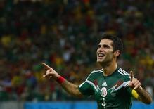 Jogador mexicano Rafael Marquez comemora gol marcado contra a Croácia durante partida pelo Grupo A da Copa do Mundo, na Arena Pernambuco, em Recife. 23/06/2014.  REUTERS/Paul Hanna