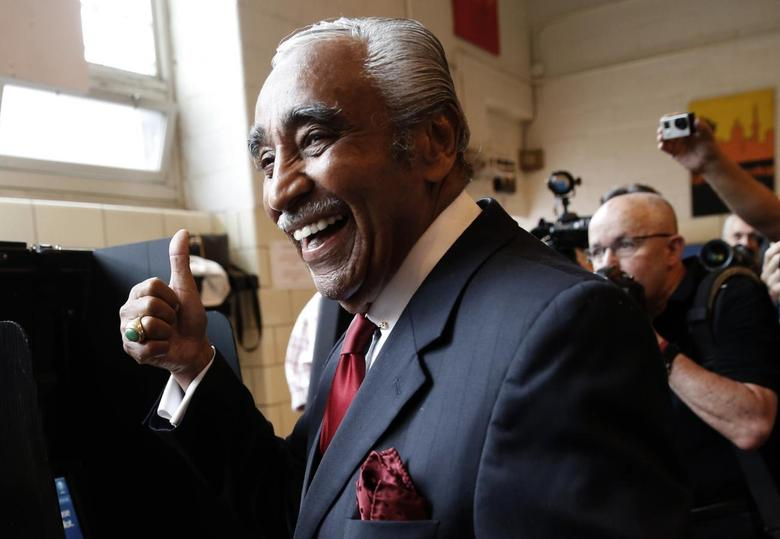 U.S. Representative Charles Rangel (D-NY), who is running for a 23rd term in Congress, reacts after casting his vote in the Harlem section of New York City in the Democratic Primary election in New York June 24, 2014. REUTERS/Mike Segar
