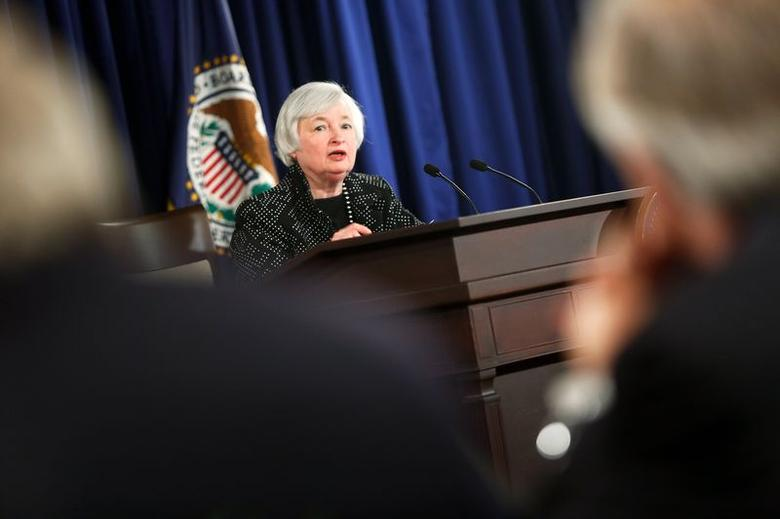 U.S. Federal Reserve Chair Janet Yellen holds a news conference following two-day Federal Open Market Committee meeting at the Federal Reserve in Washington June 18, 2014. REUTERS/Jonathan Ernst