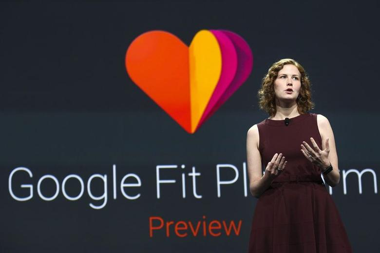 Ellie Powers, Product Manager for Google Play, announces the new Google Fit development platform during her keynote address at the Google I/O developers conference in San Francisco June 25, 2014.  REUTERS/Elijah Nouvelage