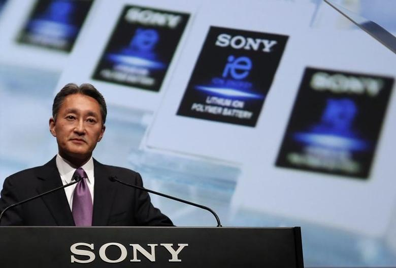 Sony Corp's President and Chief Executive Officer Kazuo Hirai addresses its corporate strategy meeting at the company's headquarters in Tokyo May 22, 2014. REUTERS/Yuya Shino