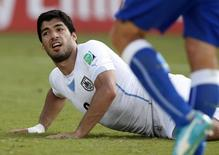Luis Suárez, da seleção uruguaia, durante partida contra a Itália em Natal. 24/06/2014. REUTERS/Toru Hanai