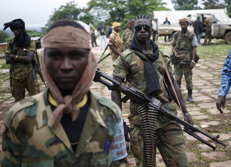 Seleka fighters stand in their base before a mission in the town of Lioto June 9, 2014.REUTERS/Goran Tomasevic
