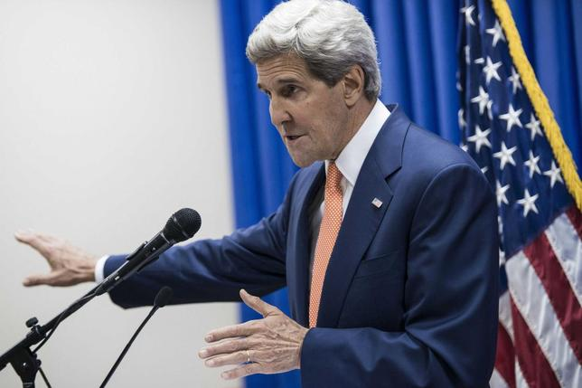 U.S. Secretary of State John Kerry speaks during a news conference at the U.S. embassy in the International Zone in Baghdad June 23, 2014.  REUTERS/Brendan Smialowski/Pool