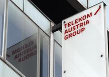 Logo de  Telekom Austria en su sede en Viena, 8 de mayo de 2013. Una empresa de Carlos Slim comprará a la estadounidense AT&T un paquete accionario que representa casi una cuarta parte del poder de voto de América Móvil, con lo que el magnate mexicano reforzará su control sobre el gigante de las telecomunicaciones.  REUTERS/Heinz-Peter Bader