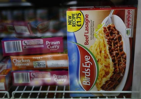 A package of Birds Eye Beef Lasagne 400g is displayed in the freezer of a convenience store in London February 22, 2013. REUTERS/Luke MacGregor/Files