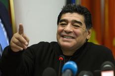 Ex-jogador argentino Diego Maradona durante coletiva de imprensa no Parlamento Europeu em Roma. 14/01/ 2014. REUTERS/Giampiero Sposito