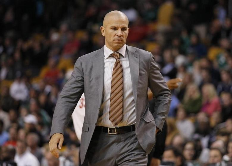 Brooklyn Nets head coach Jason Kidd on the court during a timeout as they take on the Boston Celtics during the first quarter at TD Garden. Mandatory Credit: David Butler II-USA TODAY Sports - RTX14LPS