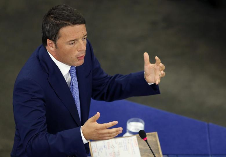 Italy's Prime Minister Matteo Renzi addresses the European Parliament during a debate on the program of the Italian Presidency of the EU for the next six months, in Strasbourg, July 2, 2014.             REUTERS/Vincent Kessler