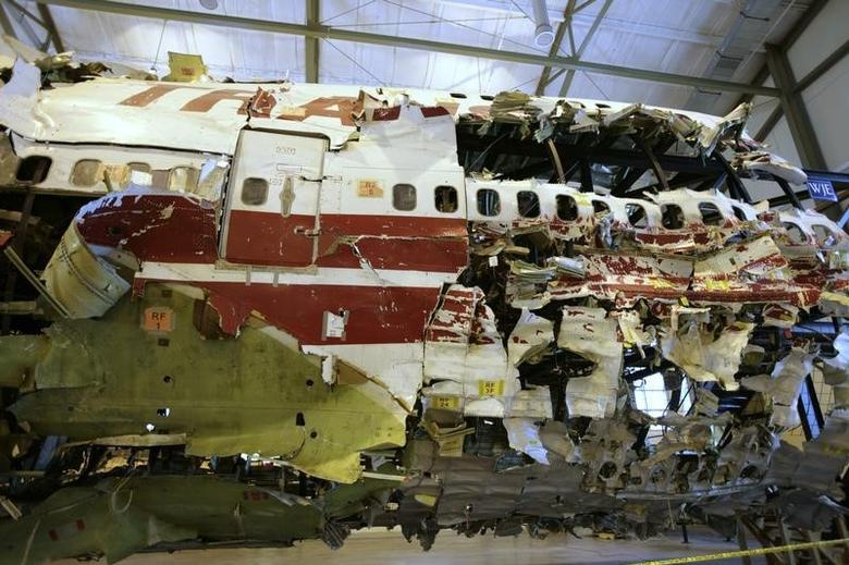 The remains of the TWA Flight 800 from New York to Paris that exploded off Long Island, New York, reassembled from recovered wreckage, is on display at National Transportation Safety Board (NTSB) Training Facility in Ashburn, Virginia, July 16, 2008. REUTERS/Hyungwon Kang