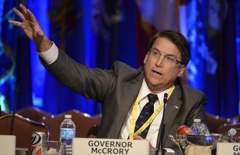 Republican Governor Pat McCrory of North Carolina makes remarks during a ''Growth and Jobs in America'' discussion at the National Governors Association Winter Meeting in Washington, February 23, 2014.  REUTERS/Mike Theiler