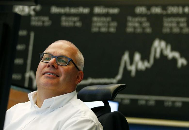 A trader works at Frankfurt stock exchange June 5, 2014. REUTERS/Ralph Orlowski/Files