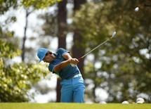 Denmark's Thorbjorn Olesen hits his tee shot on the fourth hole during the third round of the Masters golf tournament at the Augusta National Golf Club in Augusta, Georgia April 12, 2014. REUTERS/Jim Young