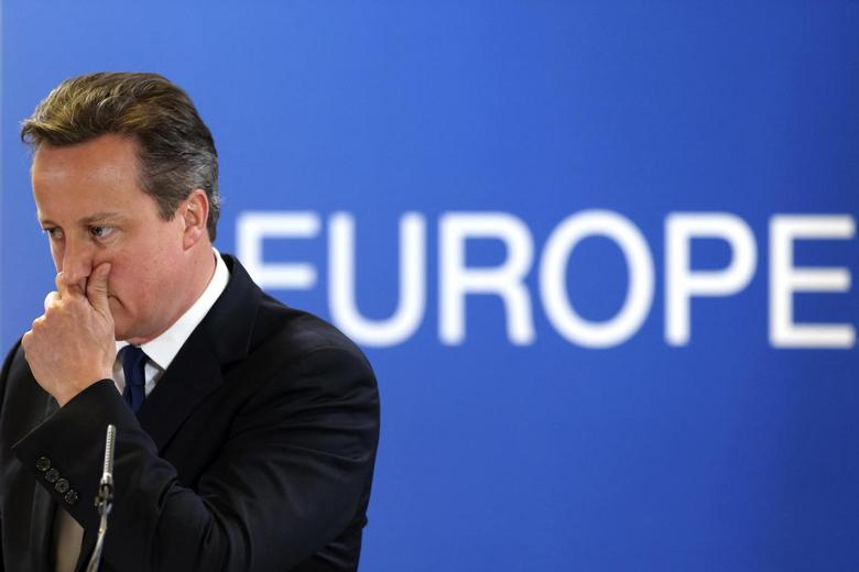 Britain's Prime Minister David Cameron holds a news conference during an European Union leaders summit in Brussels June 27, 2014.   REUTERS/Pascal Rossignol
