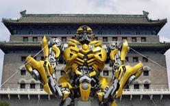 A model of the Transformers character Bumblebee is displayed in front of Qianmen Gate in central Beijing, June 20, 2014.  REUTERS/Jason Lee