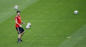 Técnico da seleção da Alemanha, Joachim Loew durante treino em Belo Horizonte. 07/07/2014. REUTERS/Leonhard Foeger