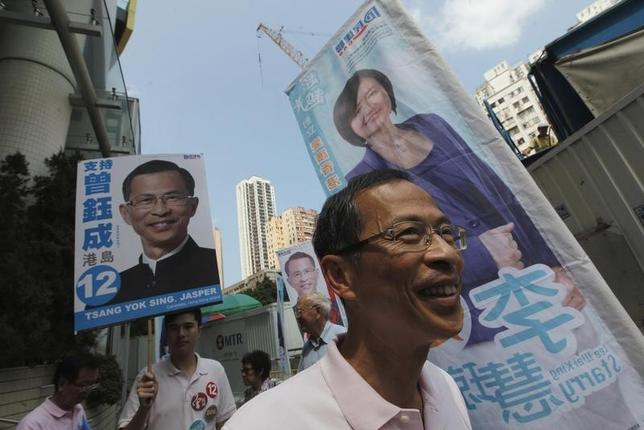 Jasper Tsang Yok-sing campaigns on election day for the Legislative Council in Hong Kong September 9, 2012. REUTERS/Tyrone Siu