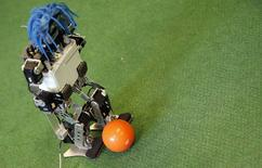 A la fin du Mondial, les robots-footballeurs entreront en scène au Brésil lors du plus grand rassemblement consacré à la robotique, où la France sera représentée par une équipe bordelaise. /Photo prise le 7 juillet 2014/ REUTERS/Régis Duvignau