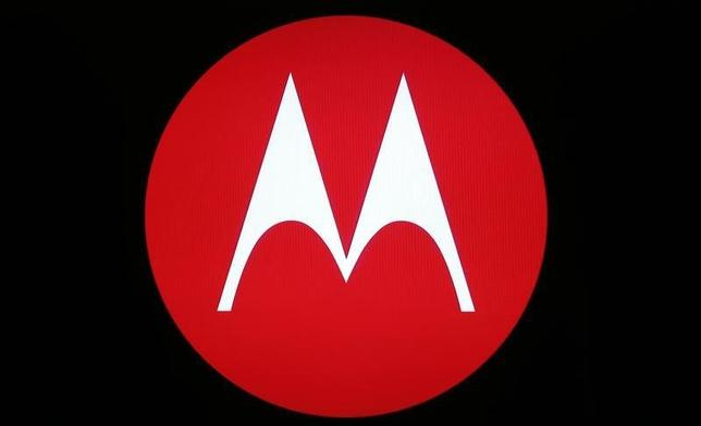 A Motorola Mobility logo is seen on a screen at the public unveiling of their global headquarters in Chicago, Illinois, April 22, 2014. REUTERS/Jim Young/Files