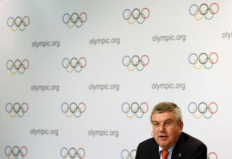 International Olympic Committee (IOC) President Thomas Bach speaks during a news conference after a three-day executive board meeting in Lausanne July 9, 2014. REUTERS/Denis Balibouse