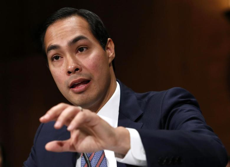 San Antonio Mayor Julian Castro, nominee to be secretary of Housing and Urban Development, testifies before a Senate Banking Committee confirmation hearing on Capitol Hill in Washington, in this June 17, 2014 file photo. REUTERS/Yuri Gripas/Files