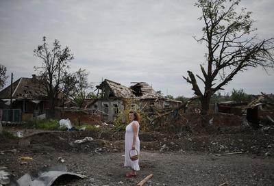 Ukraine village in ruins