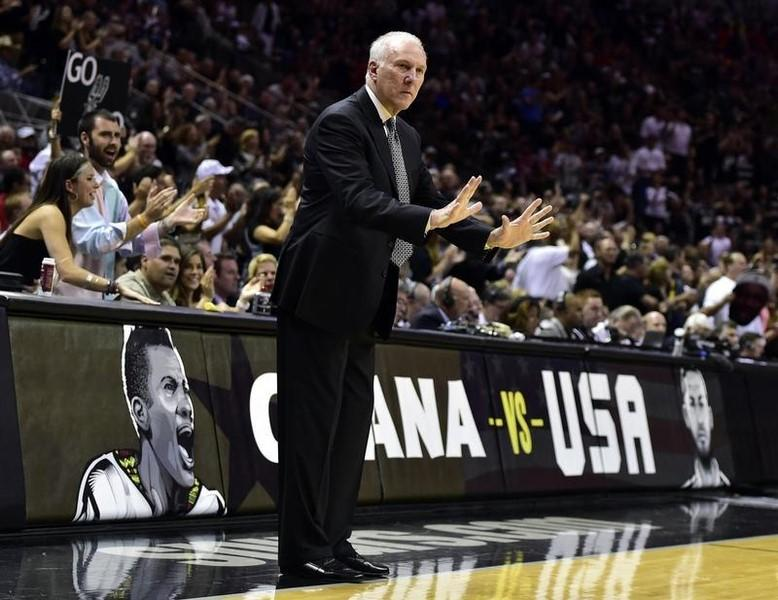San Antonio Spurs head coach Gregg Popovich reacts to a call during the second quarter against the Miami Heat in game five of the 2014 NBA Finals at AT&T Center. Jun 15, 2014; San Antonio, USA; Bob Donnan-USA TODAY Sports
