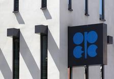 Логотип ОПЕК на штаб-квартире картеля в Вене, 10 июня 2014 года. Доля ОПЕК на мировом рынке нефти снизится в 2015 году третий год подряд из-за роста добычи сланцевой нефти в США, прогнозирует организация. REUTERS/Heinz-Peter Bader