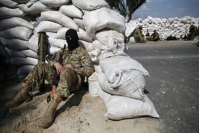 Rebel stand in Donetsk