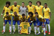 Jogadores da seleção antes de partida contra a Alemanha no estádio Mineirão, em Belo Horizonte.  8/7/2014. REUTERS/David Gray
