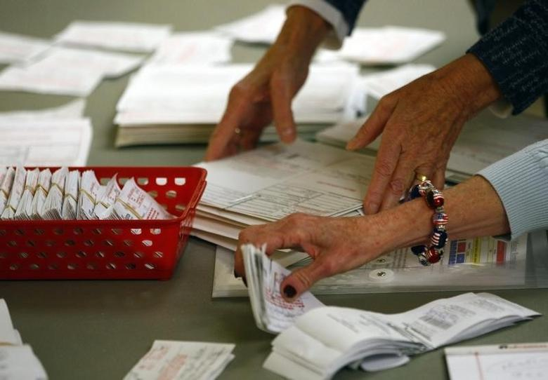 Poll workers review voter authorization forms and provisional ballots after the polls closed at the Covenant Presbyterian Church during the U.S. presidential election in Charlotte, North Carolina November 6, 2012. REUTERS/Chris Keane