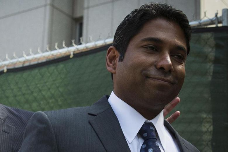 Rengan Rajaratnam exits the U.S. District Court for the Southern District of New York in Lower Manhattan July 8, 2014.  REUTERS/Brendan McDermid