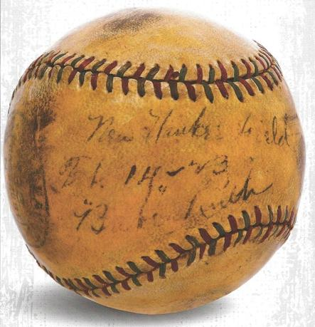 A baseball, hit by legendary New York Yankees baseball player Babe Ruth into the stands at a newly constructed Yankee Stadium in 1923, is pictured in this undated handout photo. REUTERS/Sports Immortals Museum/Handout via Reuters