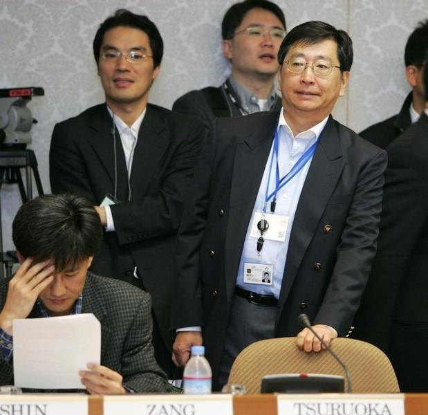 Japan's Foreign Ministry's official Koji Tsuruoka (R) attends the 17th North East Asia Cooperation Dialogue in Tokyo April 10, 2006.  REUTERS/Toru Hanai
