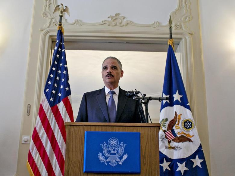U.S. Attorney General Eric Holder speaks at the U.S. ambassador's residence in Oslo July 8, 2014.  REUTERS/Anette Karlsen/NTB Scanpix