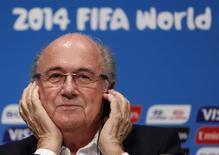 Presidente da Fifa, Joseph Blatter, em entrevista coletiva no Maracanã. 14/07/2014 REUTERS/Pilar Olivares