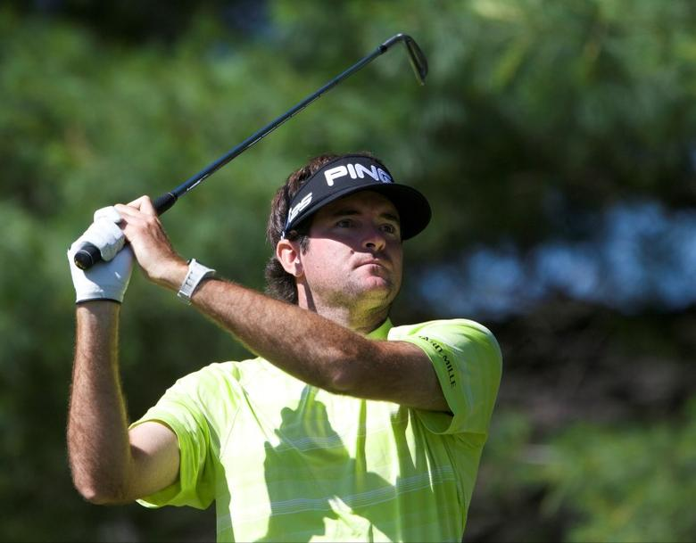 Bubba Watson tees off on the eighth hole during the third round of the Travelers Championship at TPC River Highlands. Mandatory Credit: David Butler II-USA TODAY Sports