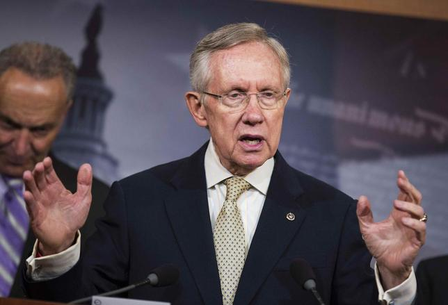 Senate Majority Leader Harry Reid (D-NV) speaks at a press conference about a bill introduced by Senate Democrats to restore the contraceptive coverage requirement guaranteed by the Affordable Care Act on Capitol Hill in Washington on July 10, 2014.      REUTERS/Joshua Roberts