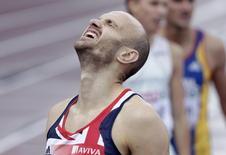 Gareth Warburton of Britain reacts during the men's 800 metres heats at the European Athletics Championships in Helsinki June 27, 2012.  REUTERS/Tobias Schwarz