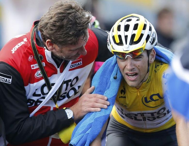 Lotto-Belisol team rider Tony Gallopin of France reacts after the 161.5-km tenth stage of the Tour de France cycling race between Mulhouse and La Planche Des Belles Filles July 14, 2014.                   REUTERS/Jean-Paul Pelissier