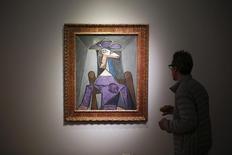 """Obra de Pablo Picasso """"Retrato de Mulher"""" (Dora Maar) exposta durante exposição de impressionistas na Christie's, em Nova York. 2/5/2014. REUTERS/Eduardo Munoz"""