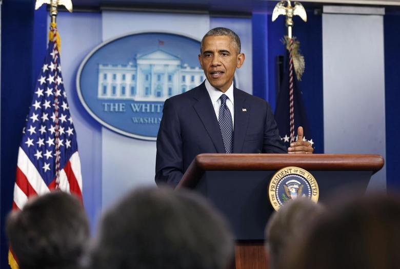 U.S. President Barack Obama talks about Ukraine while in the press briefing room at the White House in Washington, July 16, 2014.  REUTERS/Larry Downing
