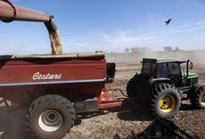 Un camión cosechando soja en Chacabuco, Argentina, abr 24 2013. Los embarques de granos y derivados permanecían paralizados en la mayor región agroexportadora de Argentina debido a una huelga de una central sindical por tiempo indefinido, en momentos de plena cosecha de soja y maíz en un proveedor mundial clave de productos agrícolas, dijeron el jueves fuentes del sector.             REUTERS/Enrique Marcarian