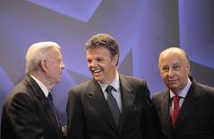 Presidente da CBF, José Maria Marin, novo coordenador-geral Gilmar Rinaldi e presidente eleito da entidade, Marco Polo Del Nero. 17/07/2014 REUTERS/Ricardo Moraes