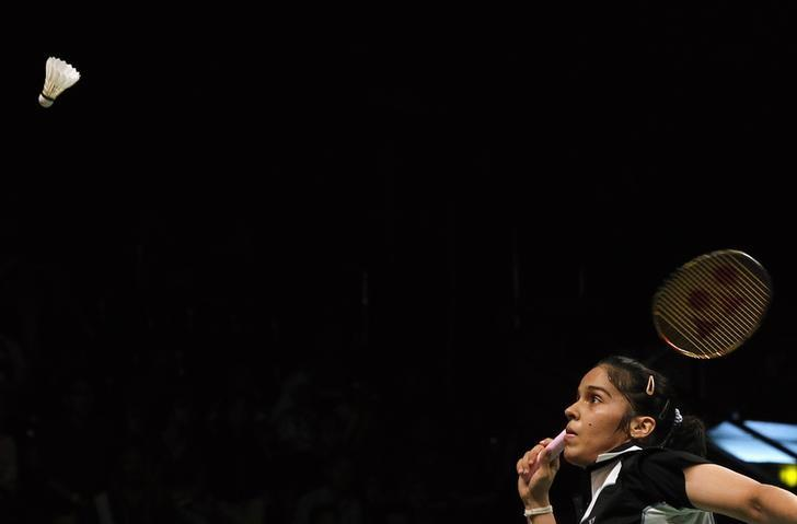 Saina Nehwal competes against Germany's Juliane Schenk during their women's singles semi final match at the Djarum Indonesia Open badminton tournament in Jakarta June 15, 2013. REUTERS/Beawiharta/Files