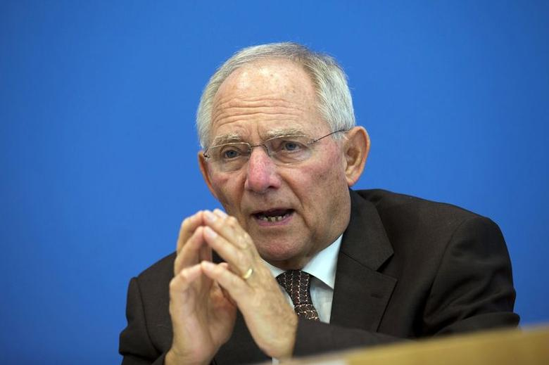 German Finance Minister Wolfgang Schaeuble presents the 2015 federal budget draft during a news conference in Berlin July 2, 2014. REUTERS/Thomas Peter