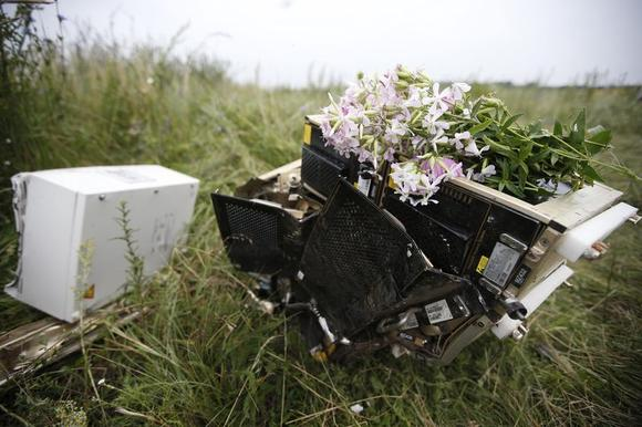 Flowers lie on debris from a Malaysian Airlines Boeing 777 plane which was downed on Thursday near the village of Rozsypne, in the Donetsk region July 18, 2014. REUTERS/Maxim Zmeyev