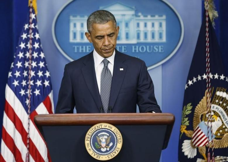 U.S. President Barack Obama speaks about the situation in Ukraine from the White House in Washington, July 18, 2014.  REUTERS/Larry Downing